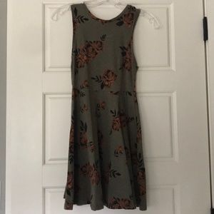 Olive and peachy orange floral dress
